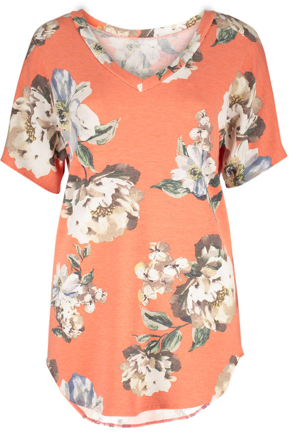 Orange Floral French Terry V-Neck Top - Women & Plus