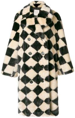 Marco De Vincenzo diamond pattern faux fur coat