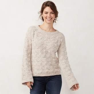 Lauren Conrad Women's Chenille Trumpet-Sleeve Sweater