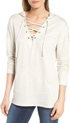 Caslon Lace-Up Hooded Sweatshirt