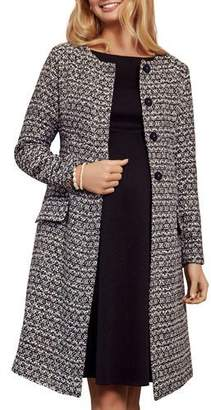Tiffany & Co. Rose Maternity Verity Collarless Button-Front Boucle Coat
