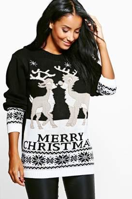 boohoo Skye Reindeers Christmas Jumper