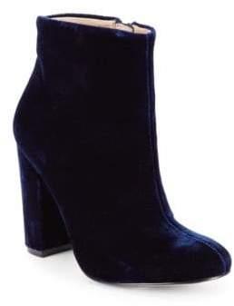 Velvet Block-Heel Booties