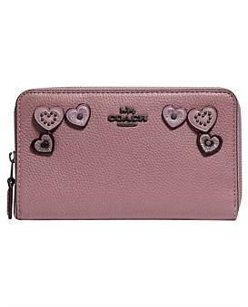 Coach Medium Zip Around Wallet With Hearts