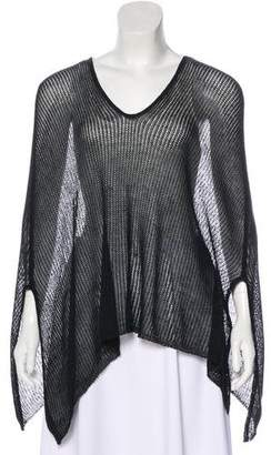Halston V-Neck Open Knit Poncho