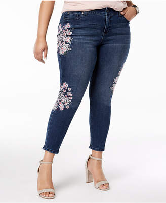 Celebrity Pink Trendy Plus Size Embroidered Skinny Ankle Jeans