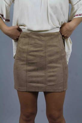 Honey Punch Tan Suede Skirt