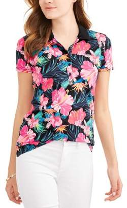 febe91ea4c6 at Walmart.com · Time and Tru Women s Essential Short Sleeve Polo T-Shirt