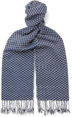 Il Bussetto Fringed Indigo-Dyed Cotton-Jacquard Scarf - Men - Blue