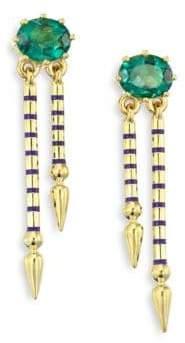 Sarah Hendler Shirley Peridot& 18K Yellow Gold Double Spear Earrings