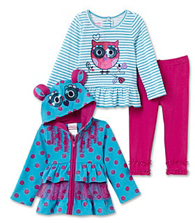 Nannette Baby Girls' Turquoise 3-pc. Owl Hoodie Set