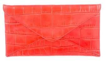 Michael Kors Embossed Leather Clutch - ORANGE - STYLE