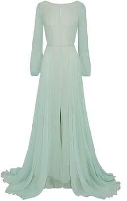 Carolina Herrera Open-Back Tulle-Trimmed Silk-Georgette Gown