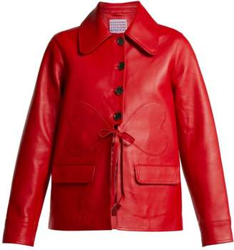 ALEXACHUNG Heart Patch Leather Jacket - Womens - Red