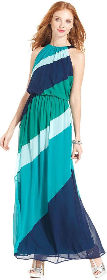 Vince Camuto Dress, Sleeveless Striped Blouson Maxi