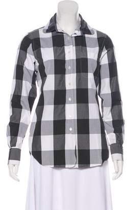 Black Fleece Gingham Long Sleeve Top
