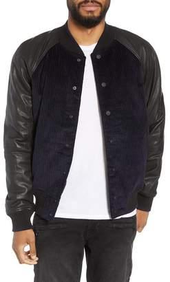 Hudson Jeans Leather Sleeve Corduroy Varsity Jacket