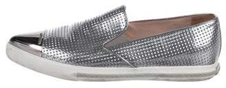 Miu Miu Pointed-Toe Patent Leather Slip-On Sneakers