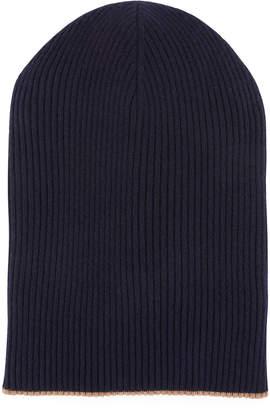 Brunello Cucinelli Men's Cashmere Reversible Ribbed Beanie Hat