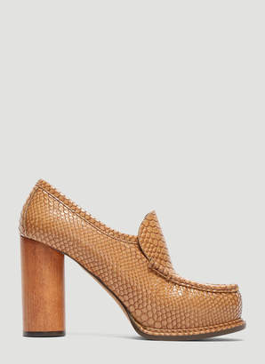 Stella McCartney Snakeskin Loafer Heels in Brown