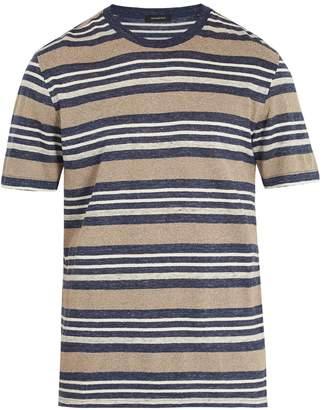 Ermenegildo Zegna Striped linen-blend T-shirt