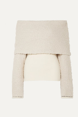 3.1 Phillip Lim Off-the-shoulder Ribbed-knit And Bouclé Sweater - Beige
