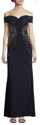 Badgley Mischka Embellished Lace Off Shoulder Gown.