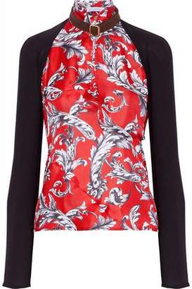 J.W.Anderson Cutout Printed Silk Twill-Paneled Crepe Top