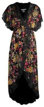 Alice + Olivia Women's Adele Floral High-Low Wrap Dress - Western Floral Black - Size 0