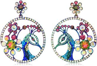 Betsey Johnson Critters Colorful Peacock Drop Earrings
