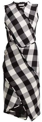 Altuzarra Gina Vichy Check Wool Blend Dress - Womens - Black White