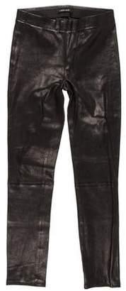 J Brand Leather Mid-Rise Leggings