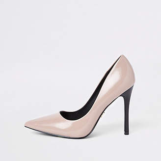 River Island Dark beige patent pumps