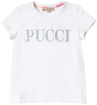 Emilio Pucci Embellished Logo Cotton Jersey T-Shirt
