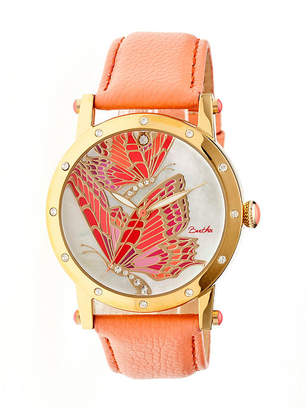 Mother of Pearl BERTHA Bertha Isabella Womens Dial Coral Leather Strap Watch Bthbr4303