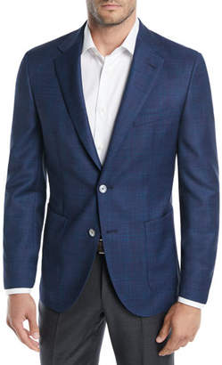 BOSS Windowpane Wool Two-Button Blazer Jacket