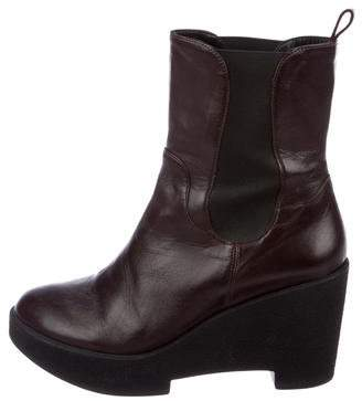 Robert Clergerie Leather Wedge Platform Boots