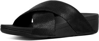 FitFlop Swoop Leather Cross Slides