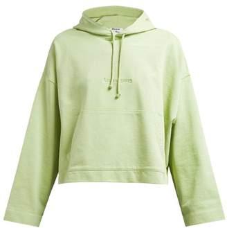 Acne Studios Joghy Debossed Logo Cotton Hooded Sweatshirt - Womens - Light Green