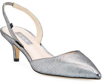 Sarah Jessica Parker Bliss Metallic Kitten-Heel Slingback Pumps