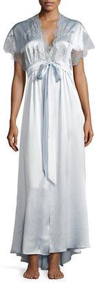 Christine Designs Midsummer Lace-Trim Long Silk Robe $495 thestylecure.com