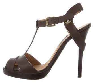 Ralph Lauren Collection T-Strap Leather Sandals