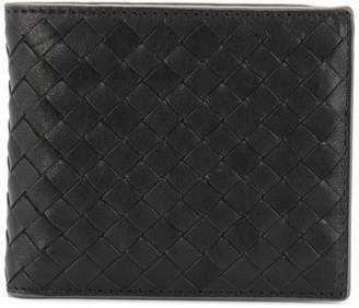 Bottega Veneta nero Intrecciato calf coin purse bi-fold wallet