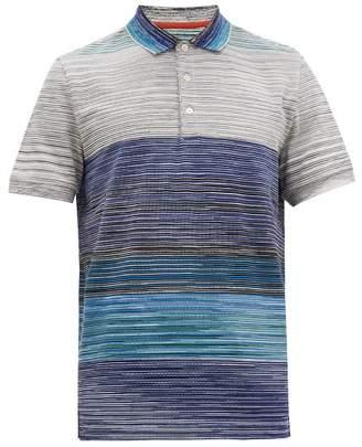 Missoni Striped Cotton Pique Polo Shirt - Mens - Blue Multi