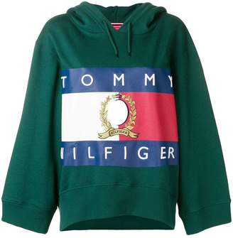 Tommy Hilfiger (トミー ヒルフィガー) - Hilfiger Collection logo print cropped hoodie