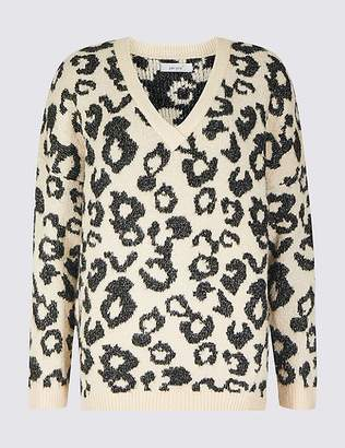 Marks and Spencer Animal Print V-Neck Jumper