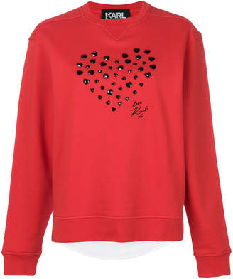 Karl Lagerfeld heart applique sweatshirt