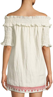 The Jetset Diaries Essence Off-The-Shoulder Embroidered Tunic