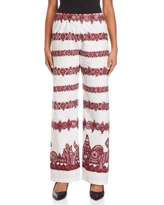 Alysi Printed High-Waisted Wide Leg Pants