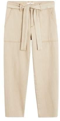 MANGO Straight-fit belt jeans ecru - XXS - Women
